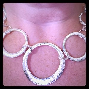 Silver Tone Circle Necklace